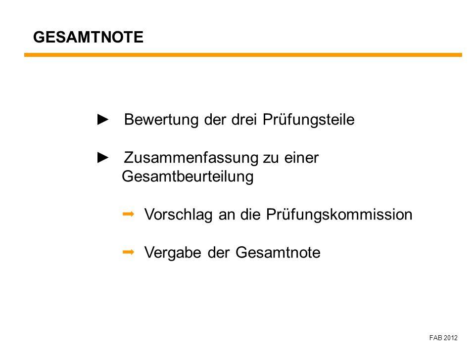 FAB 2012 Bewertung der drei Prüfungsteile Zusammenfassung zu einer Gesamtbeurteilung Vorschlag an die Prüfungskommission Vergabe der Gesamtnote GESAMT