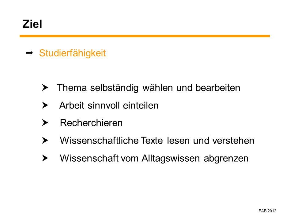 FAB 2012 Kontinuierliche Betreuung im 1.Semester 8.