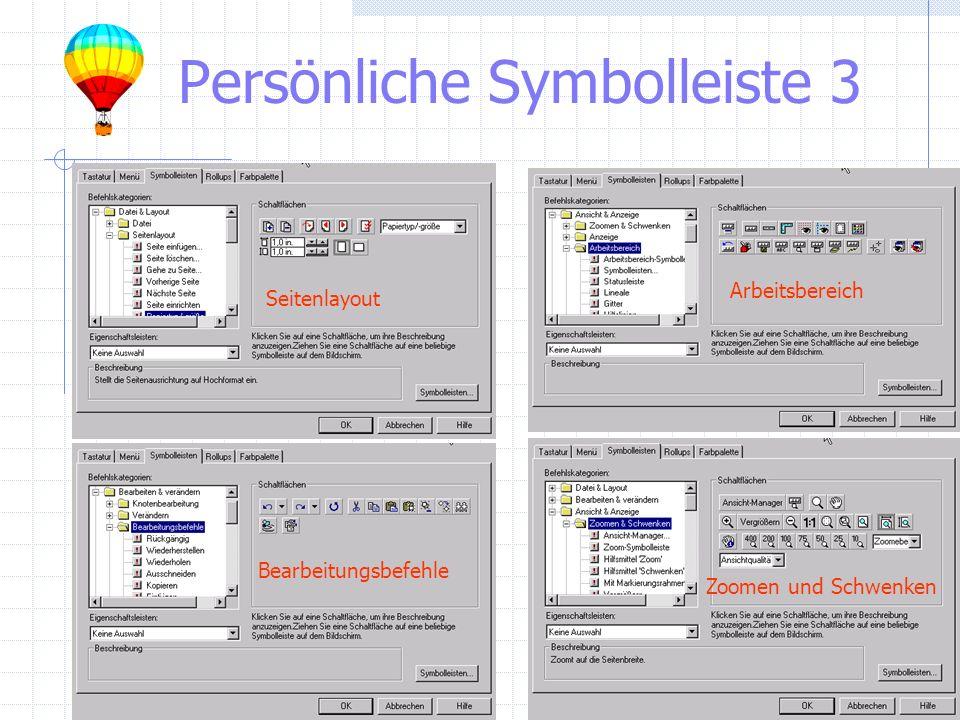 Persönliche Symbolleiste 3 Bearbeitungsbefehle Zoomen und Schwenken Arbeitsbereich Seitenlayout