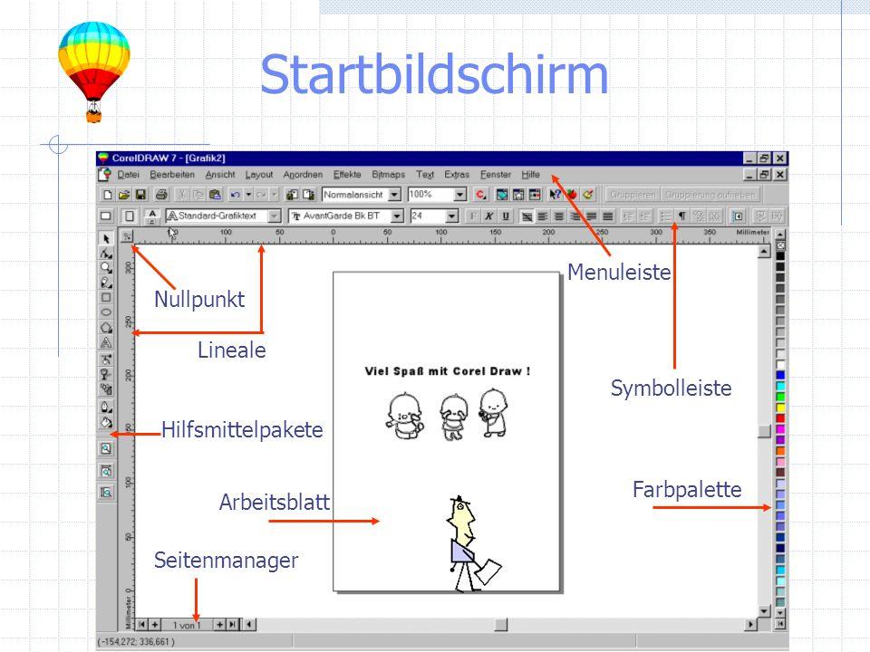 Startbildschirm Hilfsmittelpakete Seitenmanager Arbeitsblatt Farbpalette Lineale Symbolleiste Menuleiste Nullpunkt