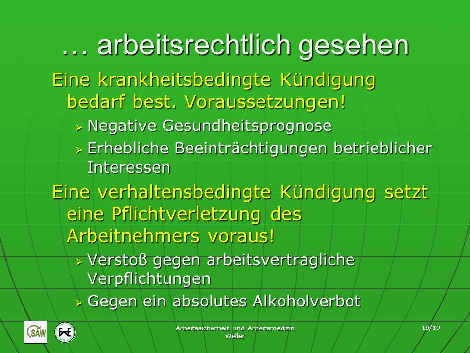 Arbeitssicherheit und Arbeitsmedizin Weller 18/19 … arbeitsrechtlich gesehen Eine krankheitsbedingte Kündigung bedarf best. Voraussetzungen! Negative