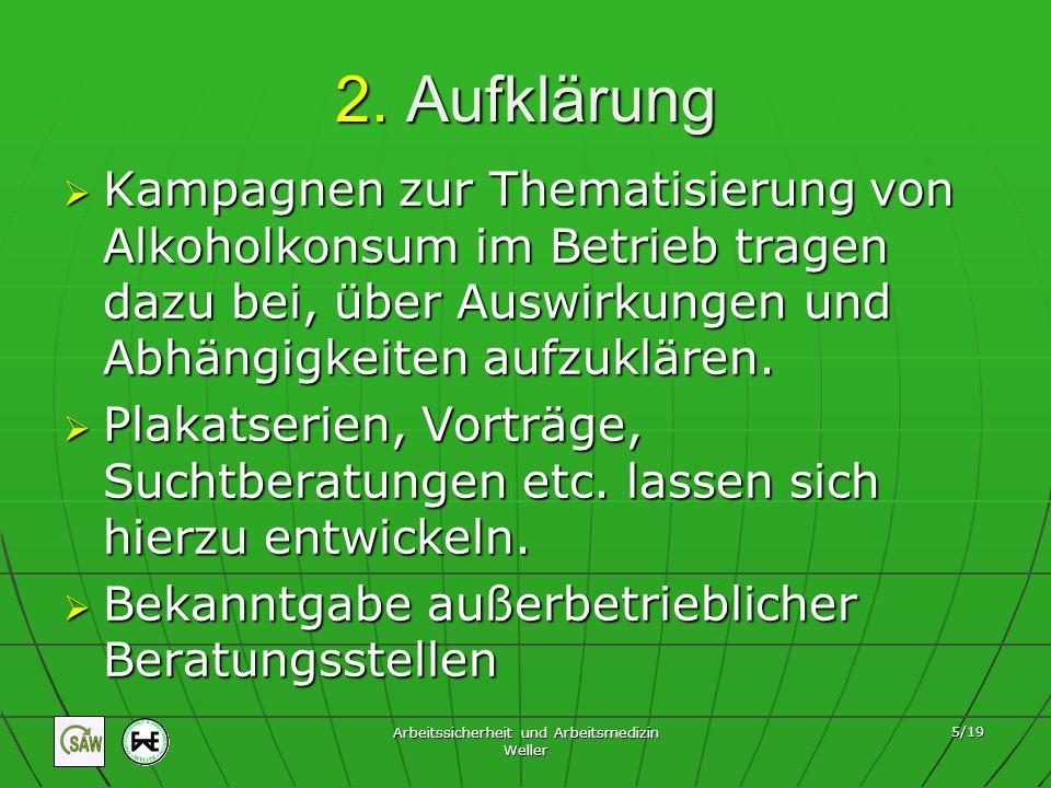 Arbeitssicherheit und Arbeitsmedizin Weller 16/19 … arbeitsrechtlich gesehen Fürsorgepflicht des Arbeitgebers Der AG muss dafür Sorge tragen, dass der Betrunkene sicher nach Hause kommt.