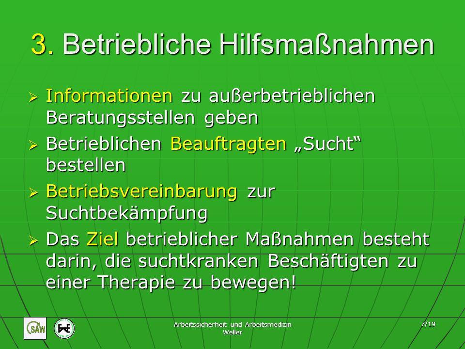 Arbeitssicherheit und Arbeitsmedizin Weller 8/19 Betriebliche Hilfsmaßnahmen Der Stufenplan