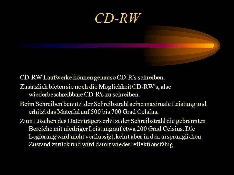 CD-R CD-R Laufwerke arbeiten im Prinzip wie WORM Laufwerke. Auch sie können nur einmal beschrieben und dann nur noch gelesen werden. Der Nachteil ist,