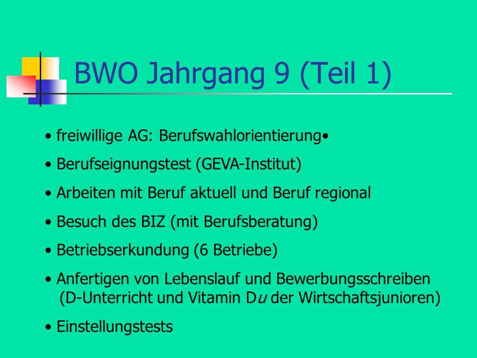 BWO Jahrgang 9 (Teil 1) freiwillige AG: Berufswahlorientierung Berufseignungstest (GEVA-Institut) Arbeiten mit Beruf aktuell und Beruf regional Besuch