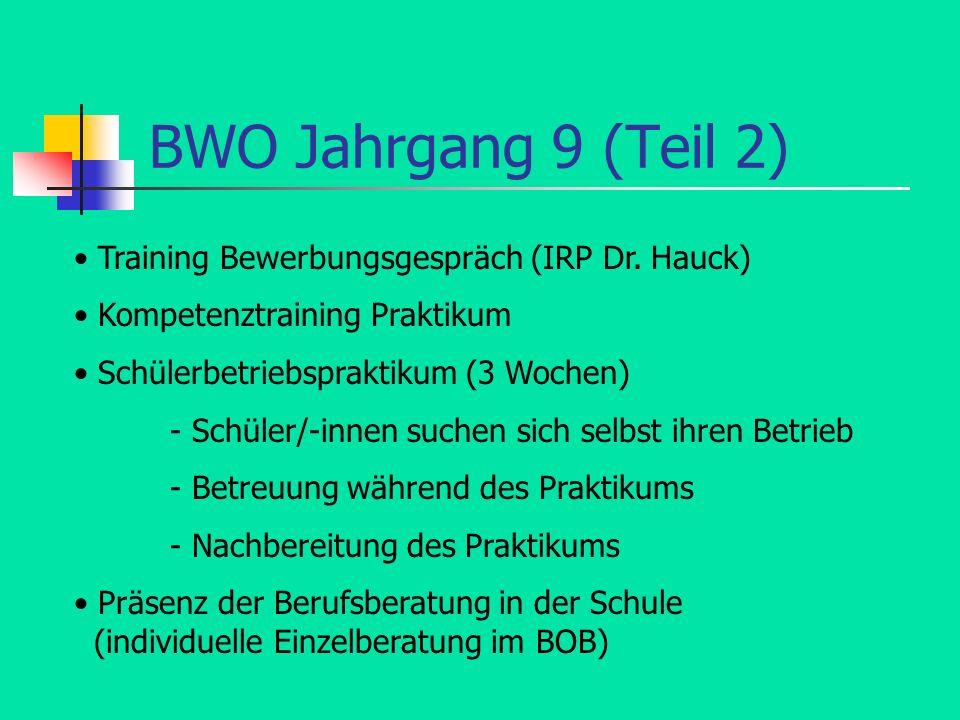 BWO Jahrgang 9 (Teil 2) Training Bewerbungsgespräch (IRP Dr. Hauck) Kompetenztraining Praktikum Schülerbetriebspraktikum (3 Wochen) - Schüler/-innen s
