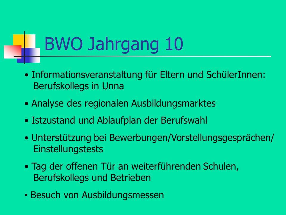 BWO Jahrgang 10 Informationsveranstaltung für Eltern und SchülerInnen: Berufskollegs in Unna Analyse des regionalen Ausbildungsmarktes Istzustand und
