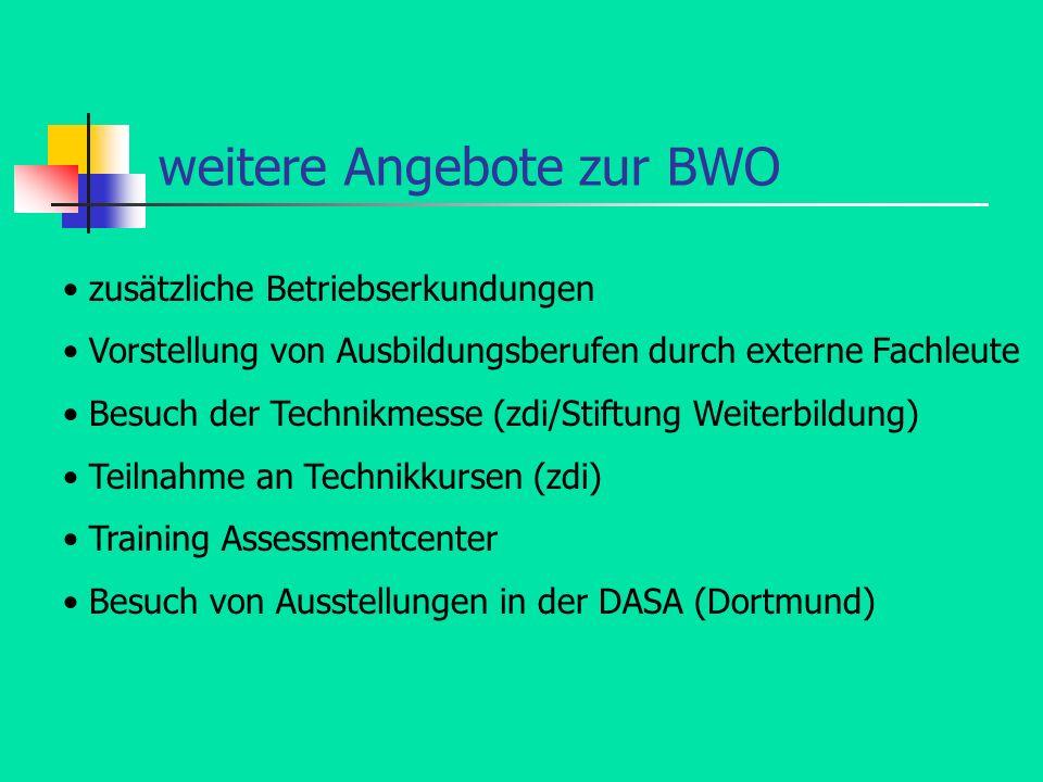 weitere Angebote zur BWO zusätzliche Betriebserkundungen Vorstellung von Ausbildungsberufen durch externe Fachleute Besuch der Technikmesse (zdi/Stift