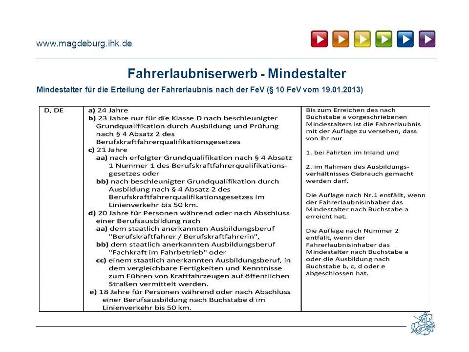www.magdeburg.ihk.de Fahrerlaubniserwerb - Mindestalter Mindestalter für die Erteilung der Fahrerlaubnis nach der FeV (§ 10 FeV vom 19.01.2013)