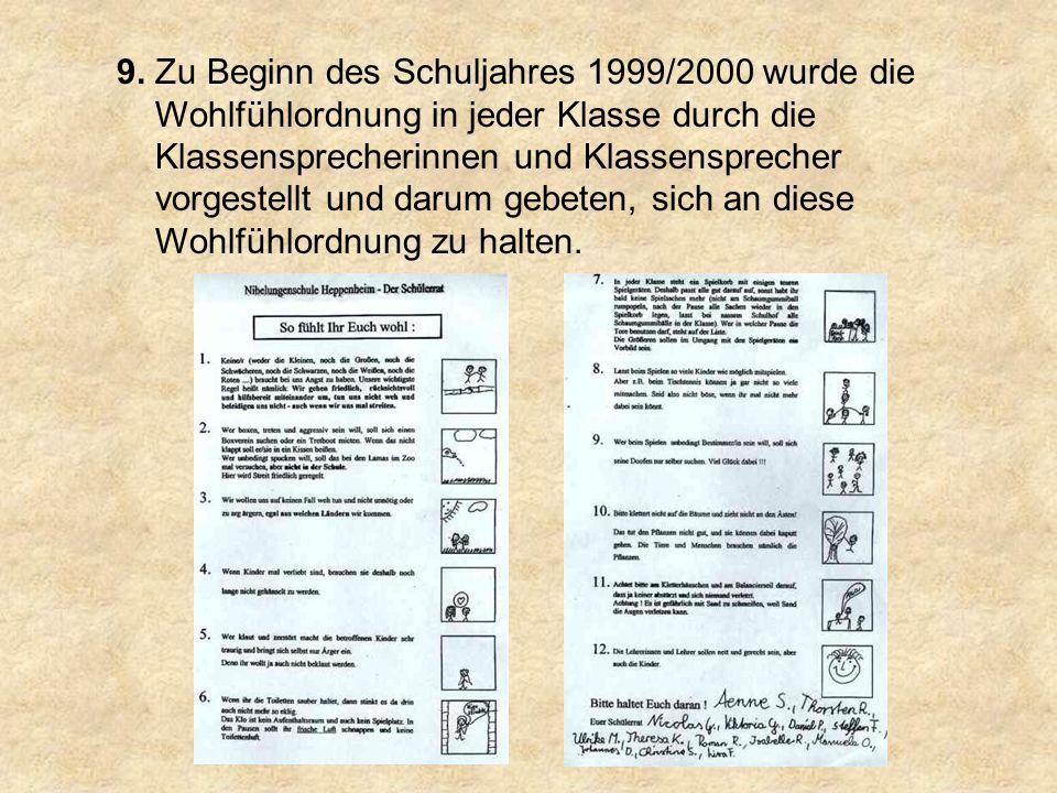 Schuljahr 1999/2000: Sammeln von Erfahrungen mit der Wohlfühlordnung Lösungsvorschläge: Der Schülerrat berät über Lösungsvorschläge nach bekanntem Muster (meist Strafen).