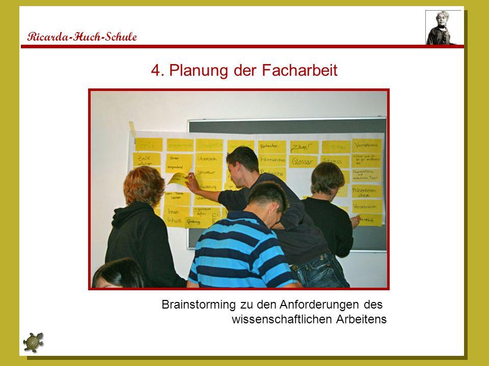 Ricarda-Huch-Schule 4. Planung der Facharbeit Brainstorming zu den Anforderungen des wissenschaftlichen Arbeitens