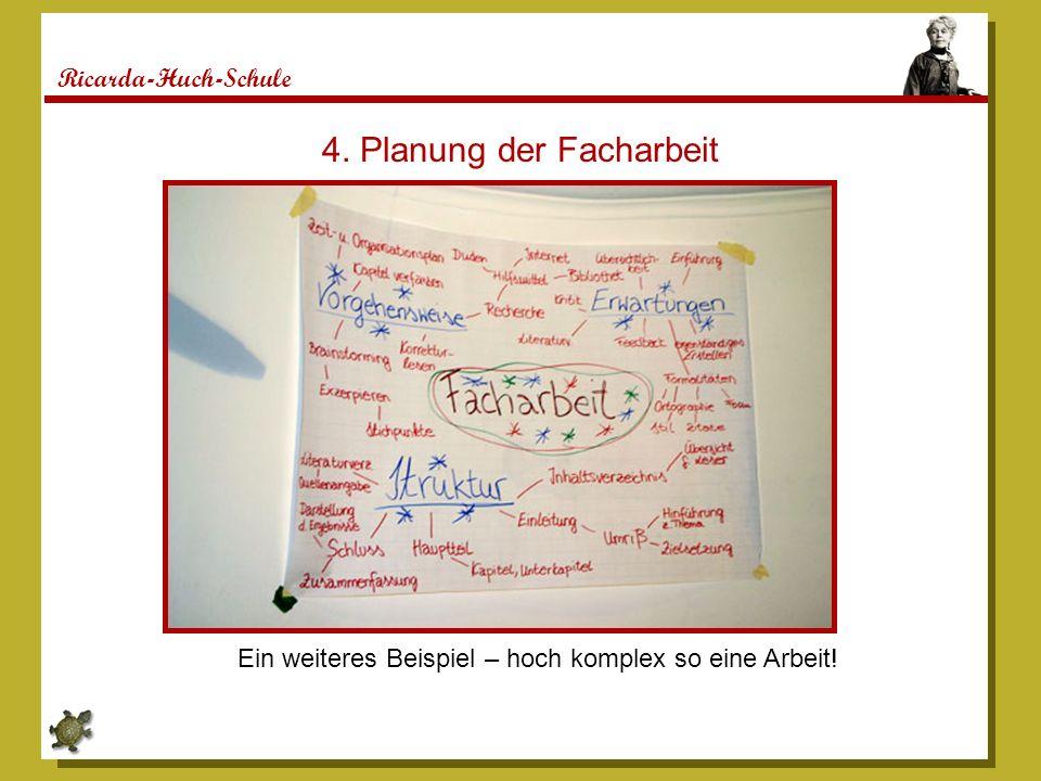 Ricarda-Huch-Schule 4. Planung der Facharbeit Ein weiteres Beispiel – hoch komplex so eine Arbeit!