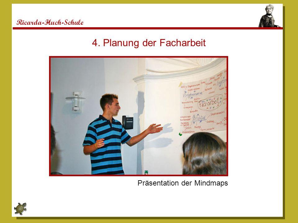 Ricarda-Huch-Schule 4. Planung der Facharbeit Präsentation der Mindmaps