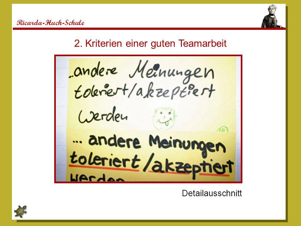 Ricarda-Huch-Schule Detailausschnitt 2. Kriterien einer guten Teamarbeit