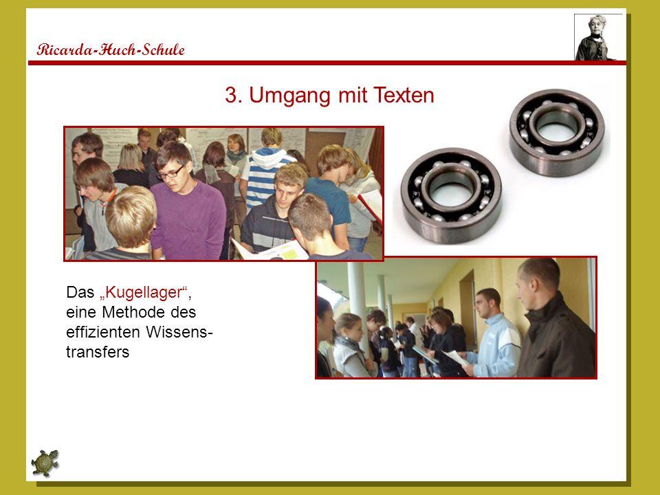Ricarda-Huch-Schule Das Kugellager, eine Methode des effizienten Wissens- transfers 3. Umgang mit Texten