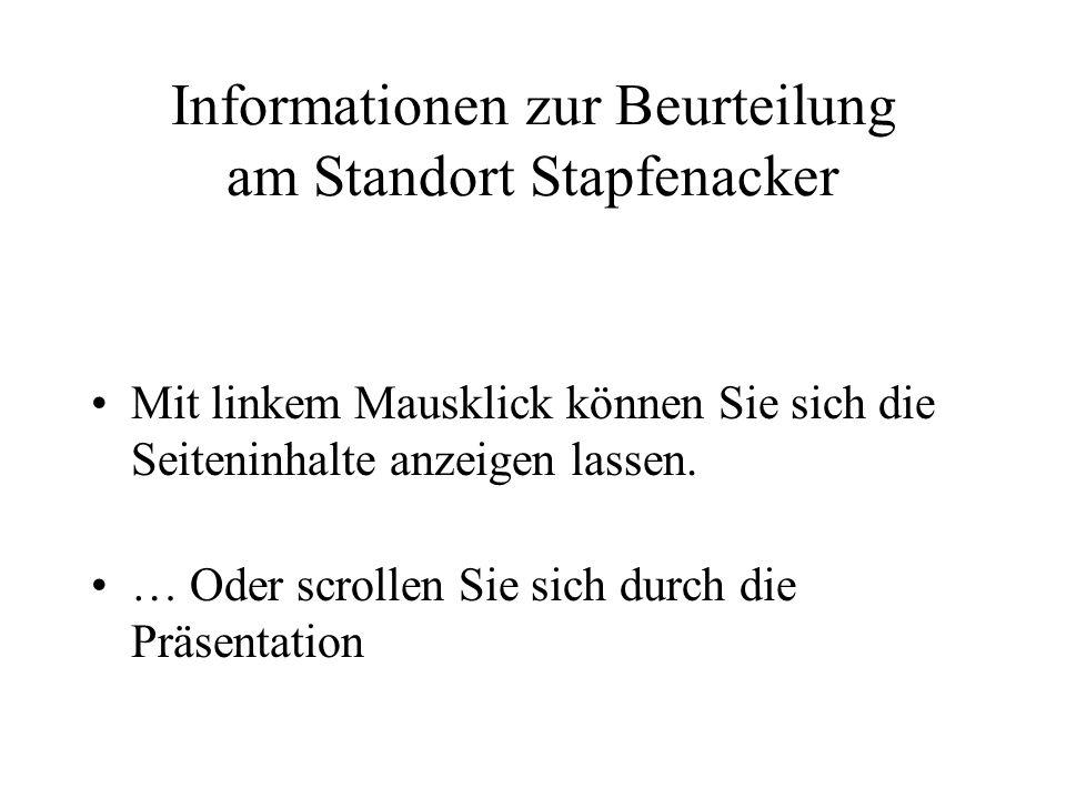 Informationen zur Beurteilung am Standort Stapfenacker Mit linkem Mausklick können Sie sich die Seiteninhalte anzeigen lassen. … Oder scrollen Sie sic