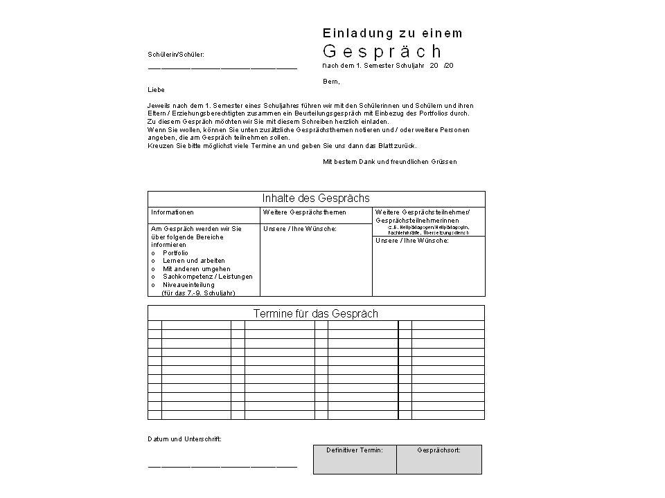 Konkret Nach dem zweiten Semester (am Ende des Schuljahres) wird ein schriftlicher Bericht verfasst.