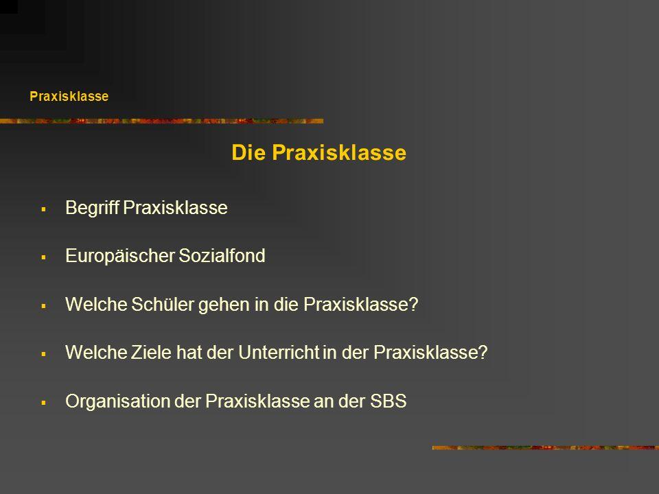 Praxisklasse Die Praxisklasse Begriff Praxisklasse Europäischer Sozialfond Welche Schüler gehen in die Praxisklasse? Welche Ziele hat der Unterricht i