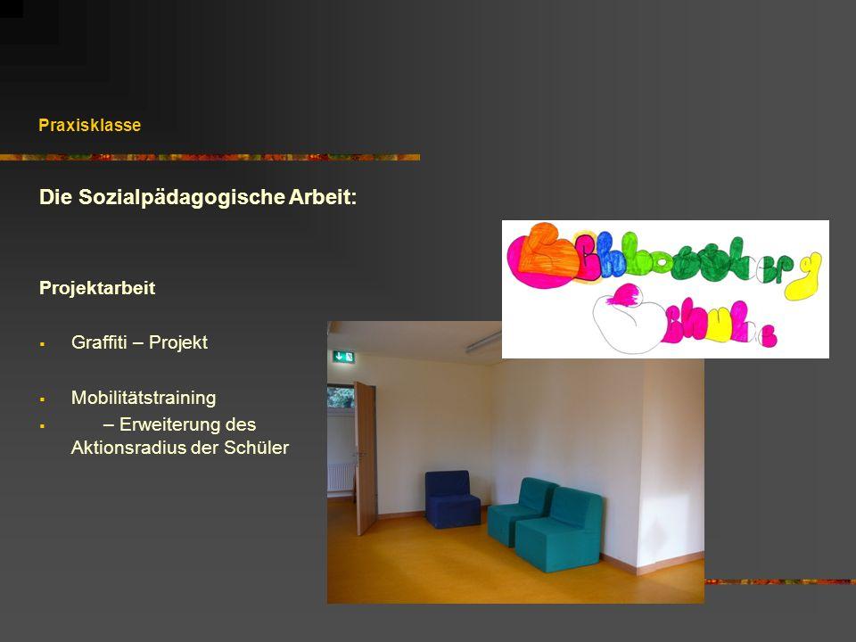 Praxisklasse Projektarbeit Graffiti – Projekt Mobilitätstraining – Erweiterung des Aktionsradius der Schüler Die Sozialpädagogische Arbeit: