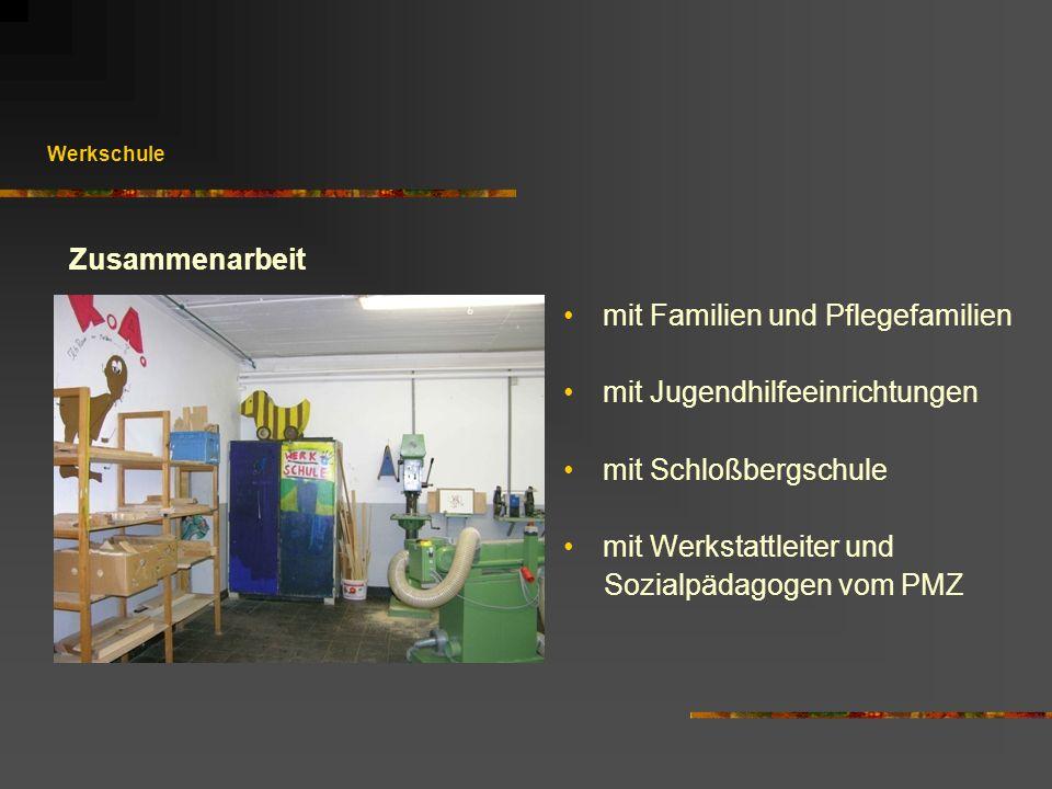 Werkschule mit Familien und Pflegefamilien mit Jugendhilfeeinrichtungen mit Schloßbergschule mit Werkstattleiter und Sozialpädagogen vom PMZ Zusammena
