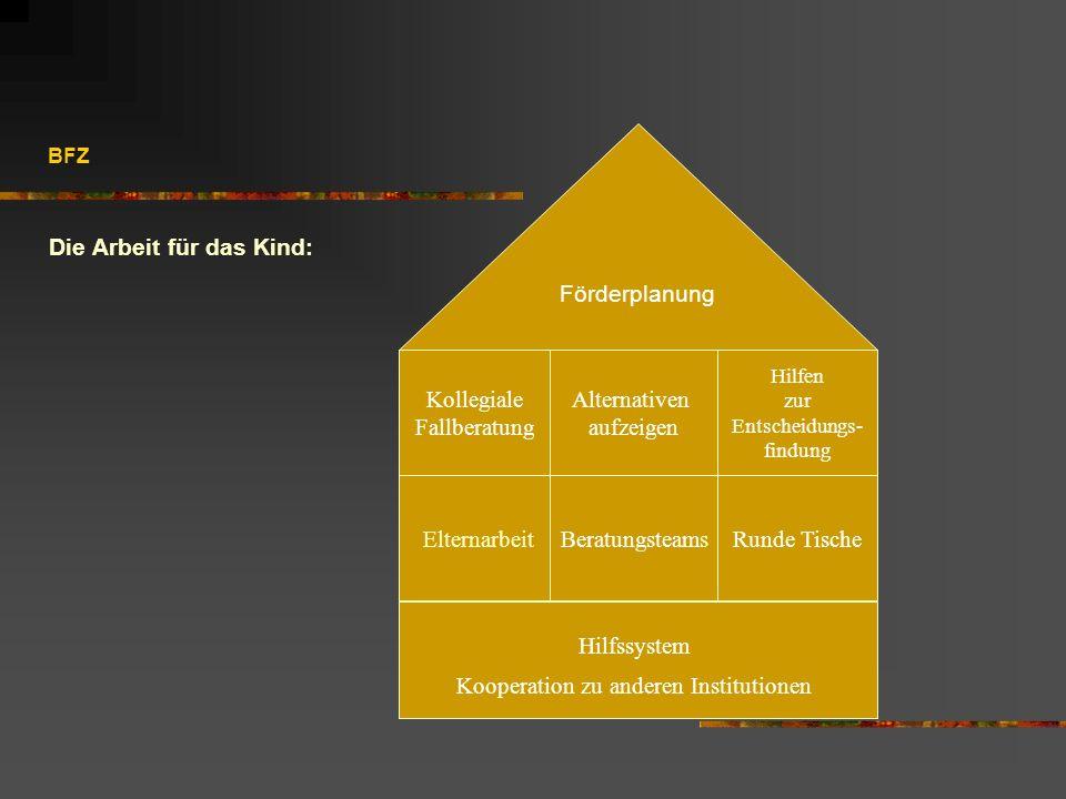 BFZ Die Arbeit für das Kind: Hilfssystem Kooperation zu anderen Institutionen ElternarbeitBeratungsteamsRunde Tische Kollegiale Fallberatung Alternati