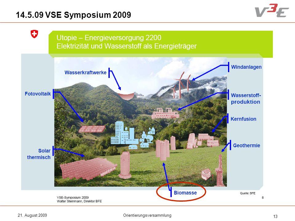 21. August 2009Orientierungsversammlung 13 14.5.09 VSE Symposium 2009