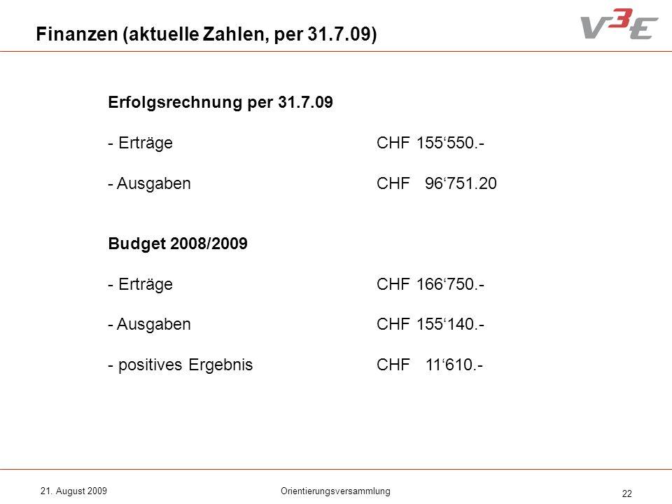 21. August 2009Orientierungsversammlung 22 Finanzen (aktuelle Zahlen, per 31.7.09) Erfolgsrechnung per 31.7.09 - ErträgeCHF 155550.- - AusgabenCHF 967