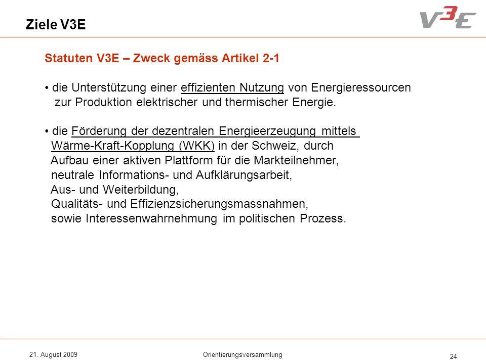 21. August 2009Orientierungsversammlung 24 Ziele V3E Statuten V3E – Zweck gemäss Artikel 2-1 die Unterstützung einer effizienten Nutzung von Energiere