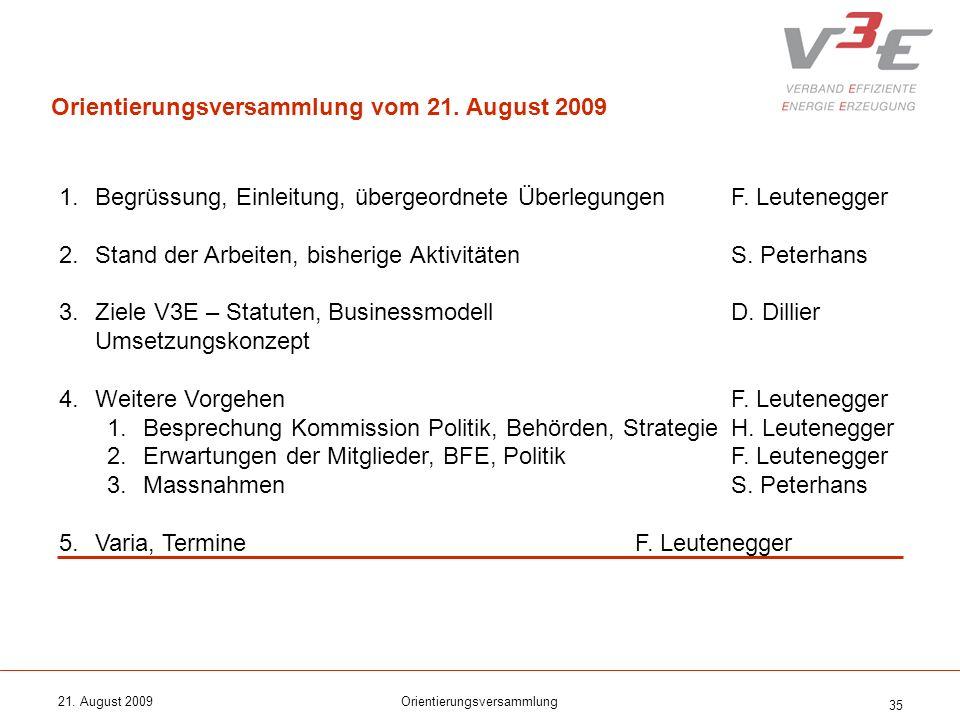 21. August 2009Orientierungsversammlung 35 1.Begrüssung, Einleitung, übergeordnete ÜberlegungenF. Leutenegger 2.Stand der Arbeiten, bisherige Aktivitä