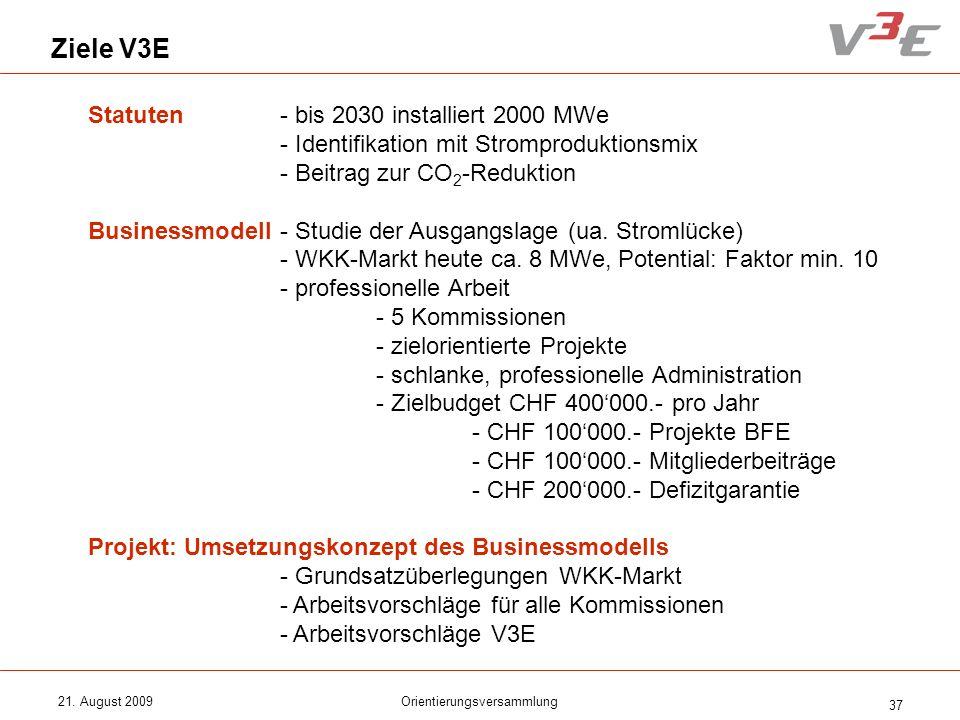21. August 2009Orientierungsversammlung 37 Ziele V3E Statuten- bis 2030 installiert 2000 MWe - Identifikation mit Stromproduktionsmix - Beitrag zur CO