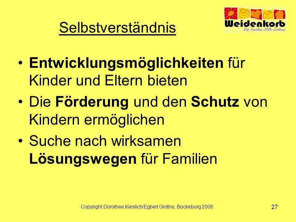 Selbstverständnis Entwicklungsmöglichkeiten für Kinder und Eltern bieten Die Förderung und den Schutz von Kindern ermöglichen Suche nach wirksamen Lösungswegen für Familien Copyright Dorothee Kieslich/Egbert Grothe, Bückeburg 2008 27