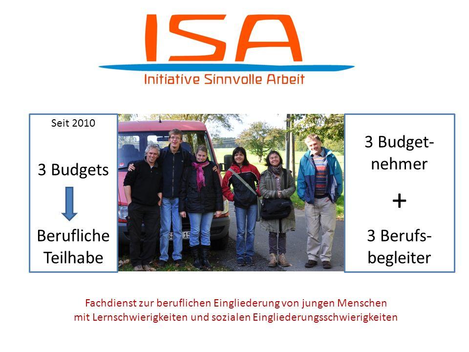 Fachdienst zur beruflichen Eingliederung von jungen Menschen mit Lernschwierigkeiten und sozialen Eingliederungsschwierigkeiten Seit 2010 3 Budgets Be
