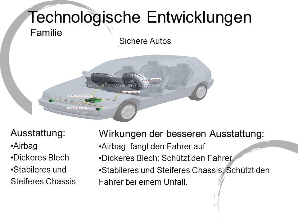Technologische Entwicklungen Sichere Autos Wirkungen der besseren Ausstattung: Airbag; fängt den Fahrer auf.