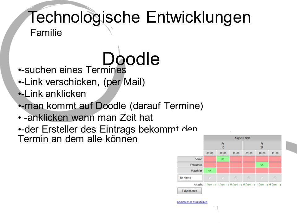 Technologische Entwicklungen Doodle -suchen eines Termines -Link verschicken, (per Mail) -Link anklicken -man kommt auf Doodle (darauf Termine) -anklicken wann man Zeit hat -der Ersteller des Eintrags bekommt den Termin an dem alle können Familie