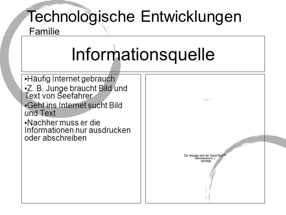 Technologische Entwicklungen Informationsquelle Häufig Internet gebrauch Z.