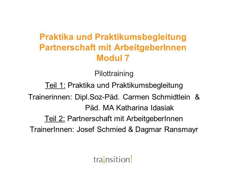 Pilottraining Transition from School to Work Modul 7 Teil 1: Praktika und Praktikumsbegleitung Dipl.