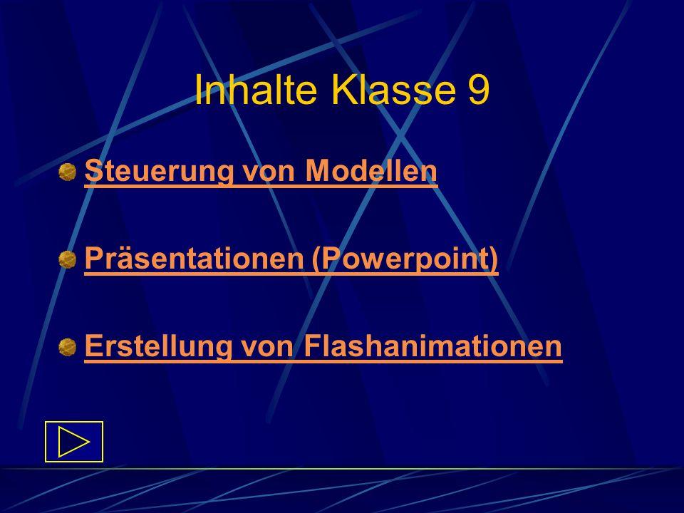 Inhalte Klasse 9 Steuerung von Modellen Präsentationen (Powerpoint) Erstellung von Flashanimationen