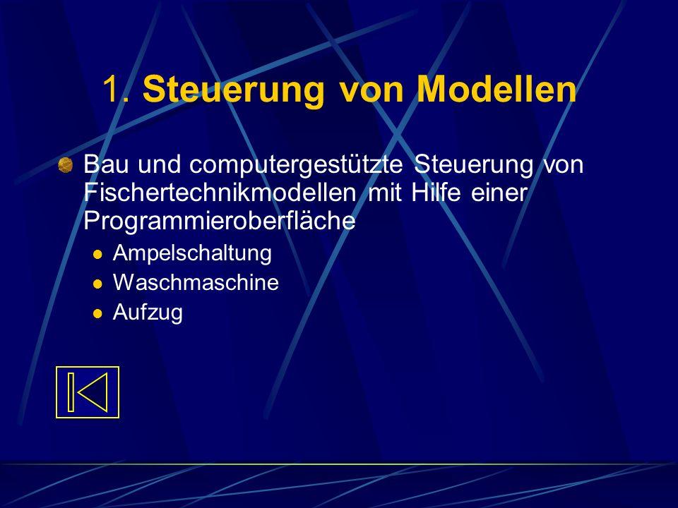 1. Steuerung von Modellen Bau und computergestützte Steuerung von Fischertechnikmodellen mit Hilfe einer Programmieroberfläche Ampelschaltung Waschmas