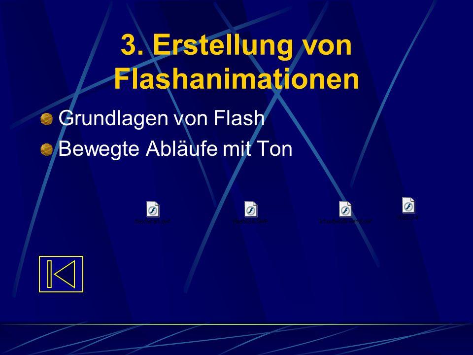 3. Erstellung von Flashanimationen Grundlagen von Flash Bewegte Abläufe mit Ton