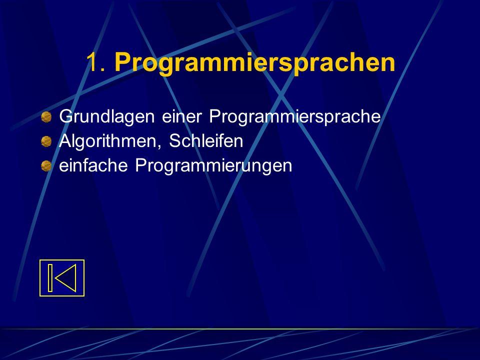 1. Programmiersprachen Grundlagen einer Programmiersprache Algorithmen, Schleifen einfache Programmierungen