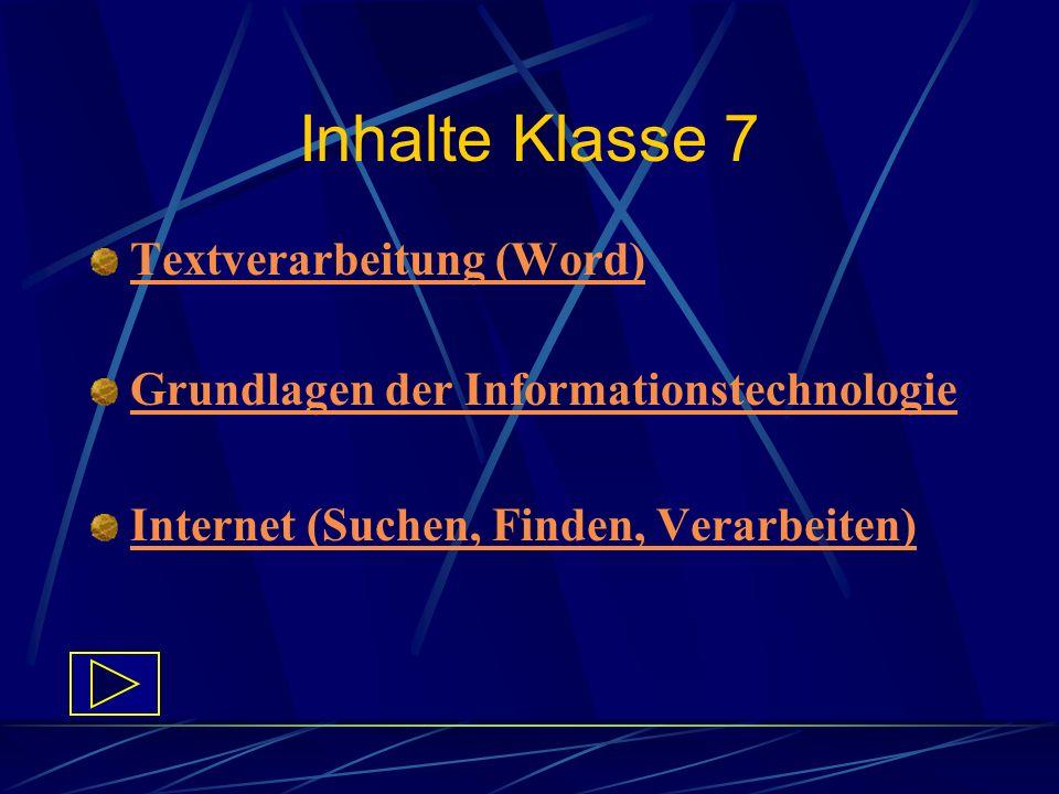 Inhalte Klasse 7 Textverarbeitung (Word) Grundlagen der Informationstechnologie Internet (Suchen, Finden, Verarbeiten)