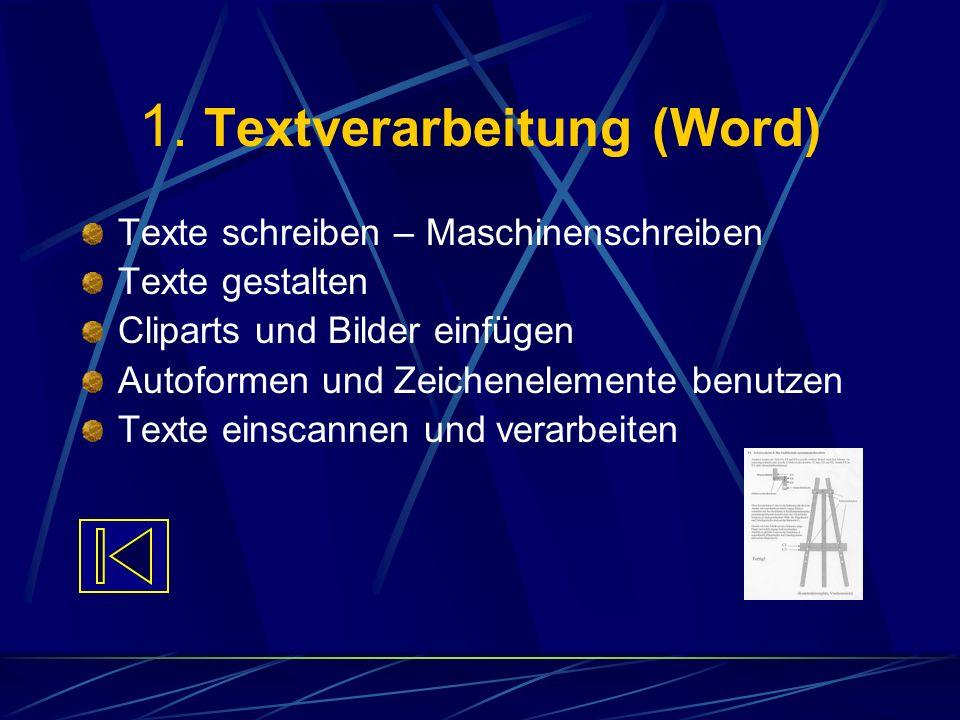 1. Textverarbeitung (Word) Texte schreiben – Maschinenschreiben Texte gestalten Cliparts und Bilder einfügen Autoformen und Zeichenelemente benutzen T