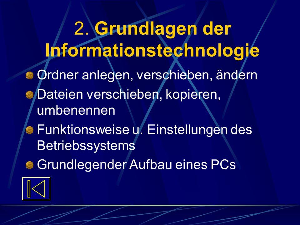 2. Grundlagen der Informationstechnologie Ordner anlegen, verschieben, ändern Dateien verschieben, kopieren, umbenennen Funktionsweise u. Einstellunge