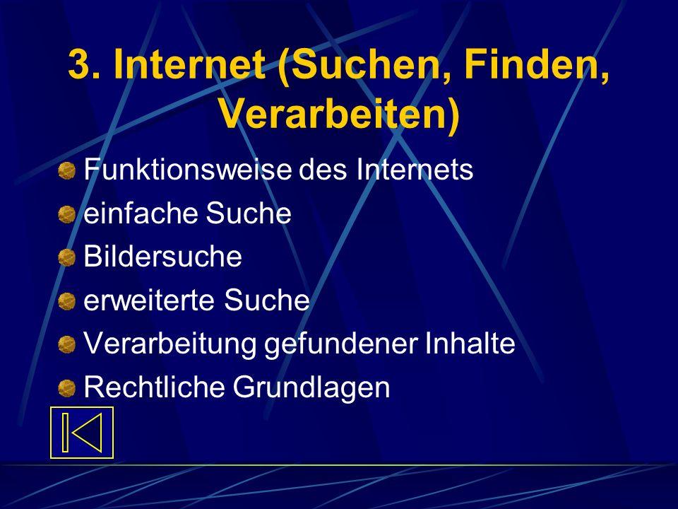 3. Internet (Suchen, Finden, Verarbeiten) Funktionsweise des Internets einfache Suche Bildersuche erweiterte Suche Verarbeitung gefundener Inhalte Rec