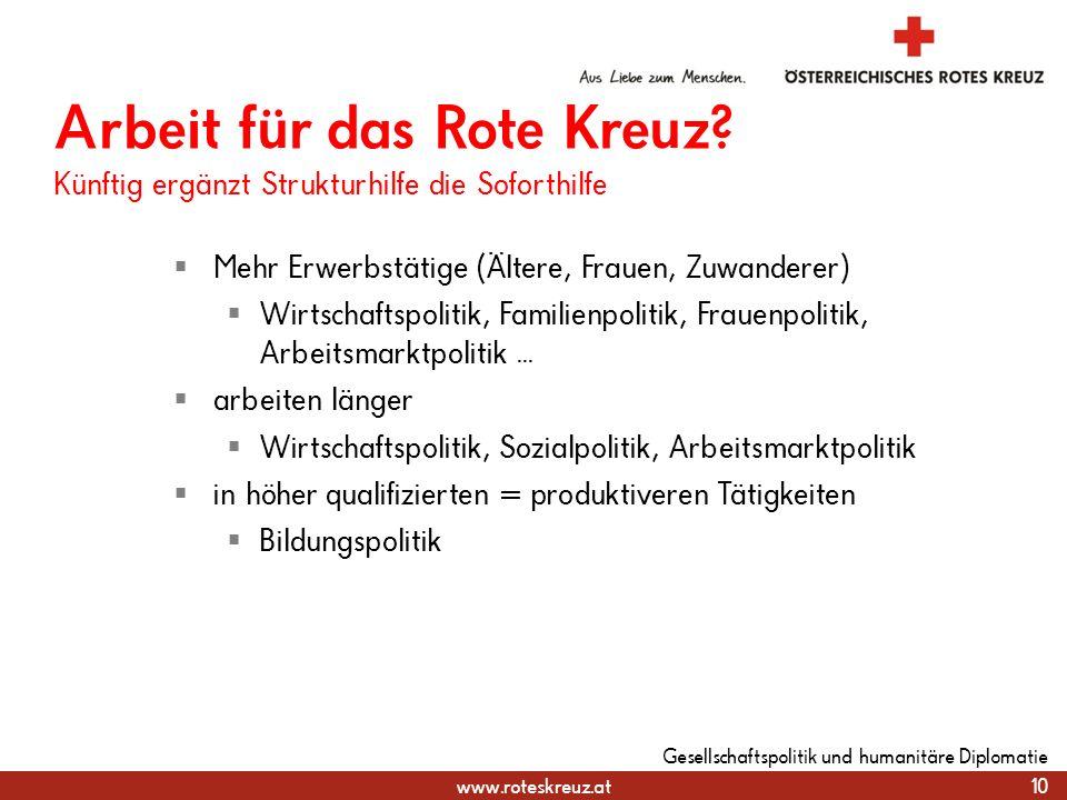 www.roteskreuz.at 10 Gesellschaftspolitik und humanitäre Diplomatie Arbeit für das Rote Kreuz? Künftig ergänzt Strukturhilfe die Soforthilfe Mehr Erwe