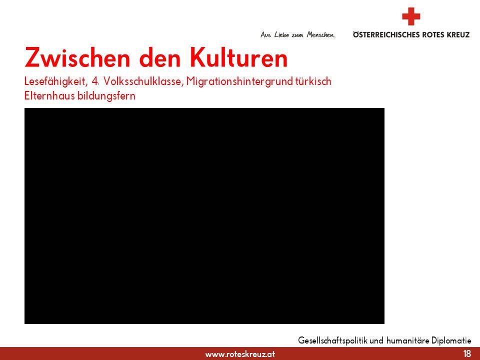 www.roteskreuz.at Zwischen den Kulturen Lesefähigkeit, 4. Volksschulklasse, Migrationshintergrund türkisch Elternhaus bildungsfern 18 Gesellschaftspol