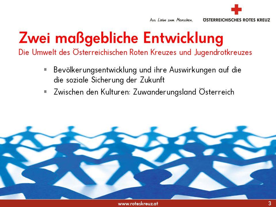 www.roteskreuz.at Bevölkerungsentwicklung und ihre Auswirkungen auf die die soziale Sicherung der Zukunft Zwischen den Kulturen: Zuwanderungsland Öste