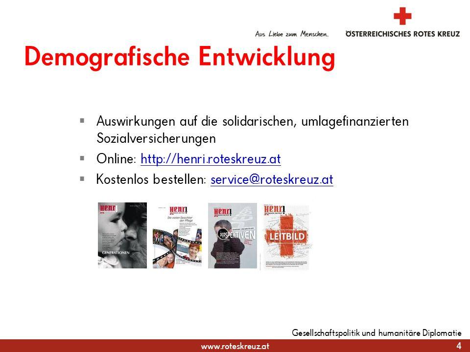 www.roteskreuz.at Demografische Entwicklung 4 Gesellschaftspolitik und humanitäre Diplomatie Auswirkungen auf die solidarischen, umlagefinanzierten So