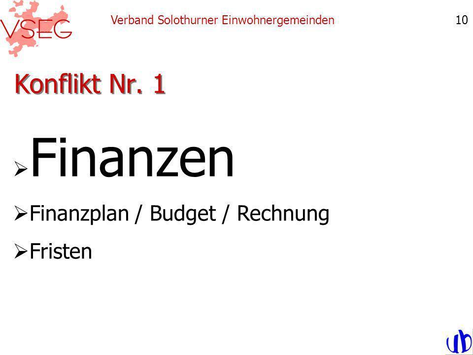 Konflikt Nr. 1 Verband Solothurner Einwohnergemeinden10 Finanzen Finanzplan / Budget / Rechnung Fristen