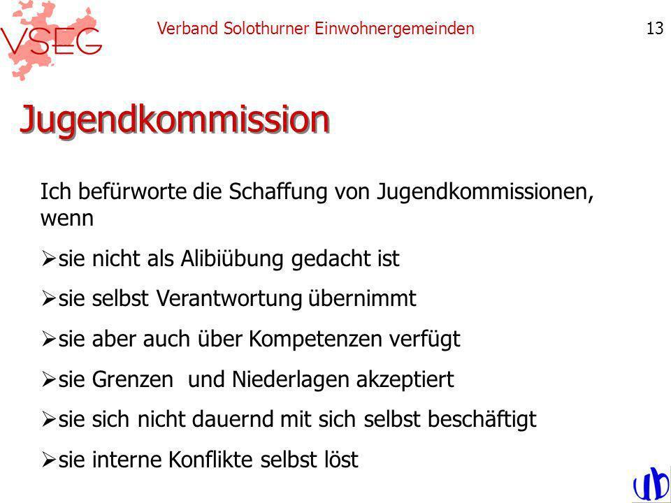 Jugendkommission Verband Solothurner Einwohnergemeinden13 Ich befürworte die Schaffung von Jugendkommissionen, wenn sie nicht als Alibiübung gedacht ist sie selbst Verantwortung übernimmt sie aber auch über Kompetenzen verfügt sie Grenzen und Niederlagen akzeptiert sie sich nicht dauernd mit sich selbst beschäftigt sie interne Konflikte selbst löst